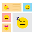 flat icon face set of caress party time emoticon vector image vector image
