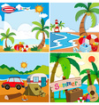 Four scenes of summer vacation on the beach vector image vector image