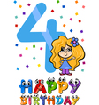 fourth birthday cartoon design vector image vector image