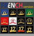 french set of number 17 templates vector image