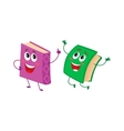 Funny book character running with bookmark ribbon vector image vector image