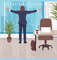 happy businessman near panoramic window in office vector image vector image