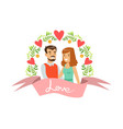 happy couple in love characters in floral frame vector image