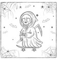 happy halloween scary drawing sketch for coloring vector image vector image