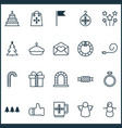 happy icons set with present pennant tart and vector image