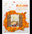 Hello autumn background with little boy 2 vector image vector image