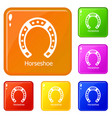 horseshoe icons set color vector image vector image