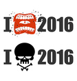 I hate 2016 Skull and bones sign of hostility vector image vector image