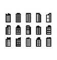 icons building set on white background black vector image vector image