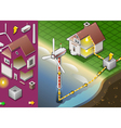 Isometric House with Offshore Wind Turbines vector image vector image