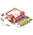 isometric low poly fast food restaurant vector image vector image