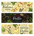 italian pasta and macaroni food sketch vector image vector image
