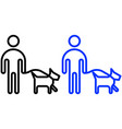 leashed dogs outline icon vector image
