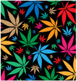 marijuana color pattern on black background vector image vector image