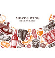 meat and wine design hand drawn food and vector image vector image