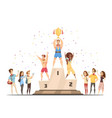 medal stand honouring composition vector image vector image