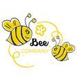 modern bee logo vector image vector image