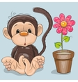 Monkey with flower vector image vector image