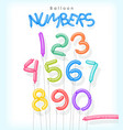 number set as colorful twisted balloons vector image vector image