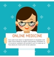 Online medicine banner Woman doctor shows text vector image vector image