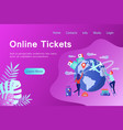 online tickets banner in flat style vector image vector image