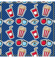 patches fast food movie 3d glasses eye popcorn vector image vector image