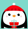 penguin bird head face holding gift box red hat vector image vector image