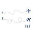 plane and its way track or route isolated on vector image
