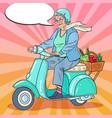 pop art senior woman riding scooter vector image vector image