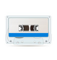 realistic audio cassette with magnetic tape vector image