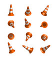 realistic traffic cones vector image