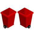 red trashcans from two different angles vector image vector image