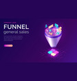 sales funnel isometric concept vector image vector image