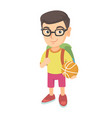 schoolboy with backpack holding a basketball vector image vector image