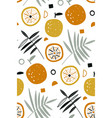seamless pattern with fresh oranges vector image vector image