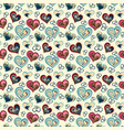 seamless pattern with hearts freehand drawing vector image vector image