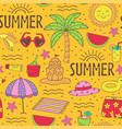 seamless pattern with summer icons on beach vector image vector image