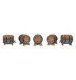 set wooden barrels with taps on stands vector image