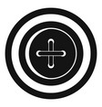 Sewing button with a thread icon simple style vector image