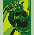 skull with crown on colored background vector image vector image