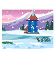 small lonely house with snowy mountains sketch vector image vector image