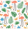 summer seamless pattern with exotic jungle foliage vector image vector image