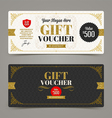 Template Gift voucher with glitter gold vector image vector image