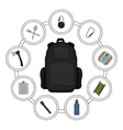 Traveler black backpack contents vector image vector image