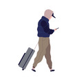 traveling man with suitcase cartoon male vector image vector image