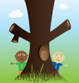 tree and kids in nature vector image vector image