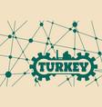 turkey word build in gear vector image vector image
