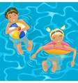 Two kids in water vector image