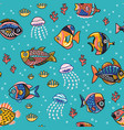underwater life seamless pattern with fishes vector image vector image