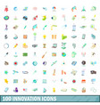 100 innovation icons set cartoon style vector image vector image
